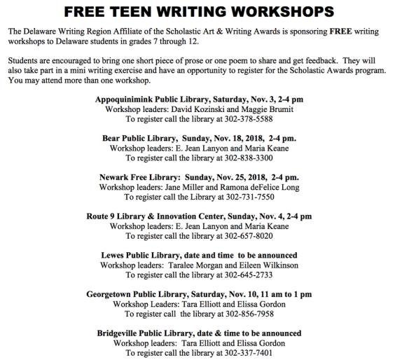 Teen writing workshops 2018